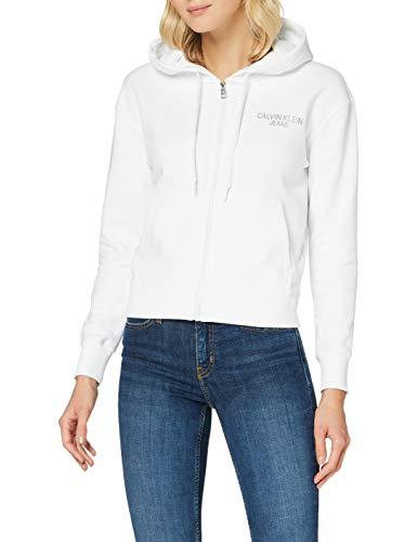 Calvin Klein Jeans Damen Instit Back Logo Zip Through Pullover, White, XS