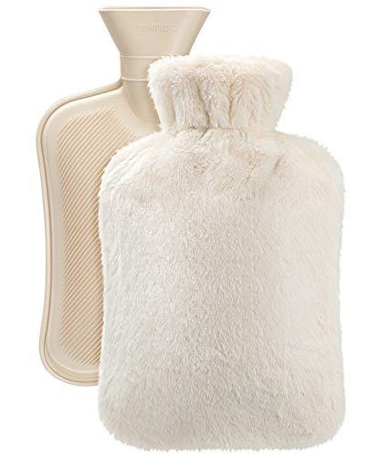 VINTONEY Borsa dell'acqua Calda con una morbida bottiglia di copertura in pile calore e comfort un ottimo regalo per madre e padre 2L