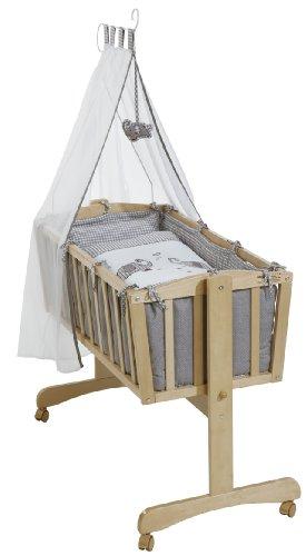 roba Komplettwiegenset, Babywiege 'Jumbotwins' (40x90cm), Holz, natur, Stubenwagen & Wiege mit Feststellfunktion, Wiegenset inkl. kompletter Ausstattung & Baby Bettwäsche (80x80cm)