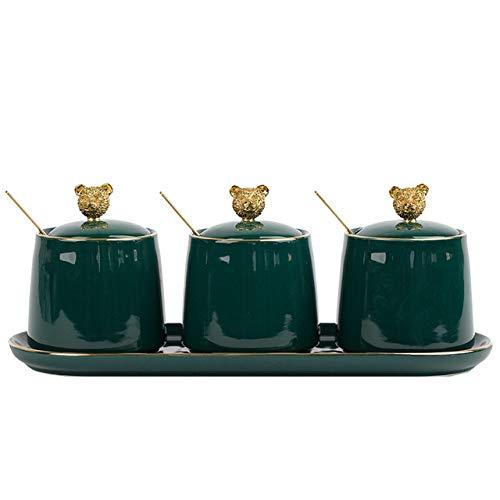3 stks Nordic Groene Keramische Kruiden Jar Set Keuken BenodigdhedenKruiderij Flessen met Lepel Deksel Zout peper Shaker Spice Container