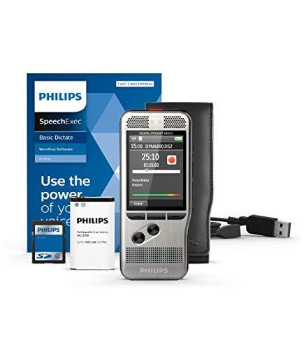 Philips PocketMemo DPM6000 Digitales Diktiergerät, Audiorecorder, Aufnahmegerät inkl. Diktiersoftware SpeechExec Basic 2-Jahres-ABO