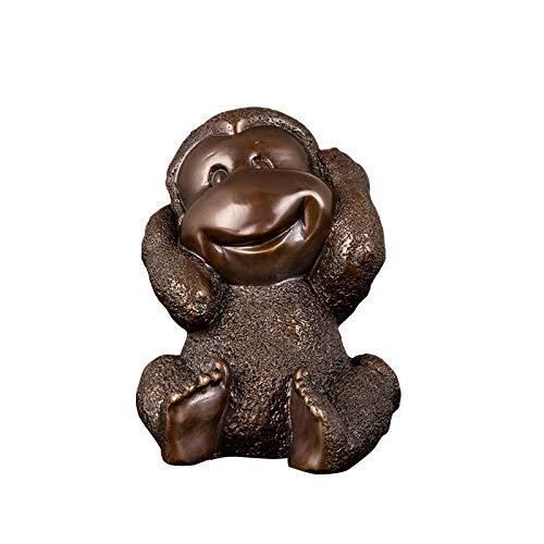 JYJYJY Escultura Figuritas Decorativas Decoración para El Hogar Mascota Mono Arte Antiguo Bronce Fundido Bronce Divertido Mono Estatua