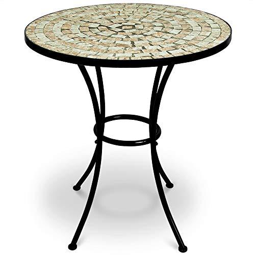 Deuba Mosaiktisch Gartentisch Bilbao Ø 60 cm Rund Handgefertigte Mosaik Gestell Wetterfest Balkontisch Bistrotisch Kaffeetisch Garten Tisch