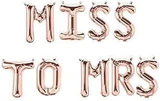 Miss to Mrs Foil Letter Balloons 3D Banner Engagement Party Photo Prop Banner Bachelorette Parties Decorations (ROSE GOLD)