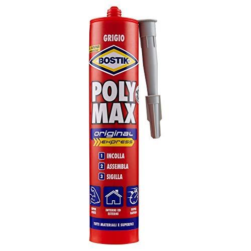 BOSTIK Poly Max Original Express grigio colla di montaggio e sigillante universale super rapido e super forte cartuccia 425g grigio