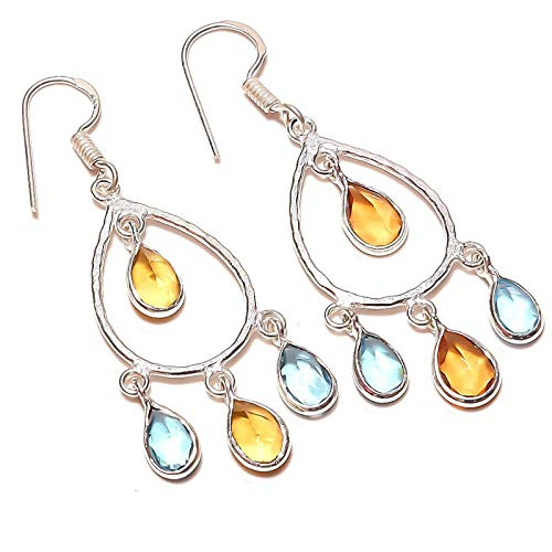 Yellow Citrine and Blue TOPAZ quartz Handmade EARRING 2' Long Silver...
