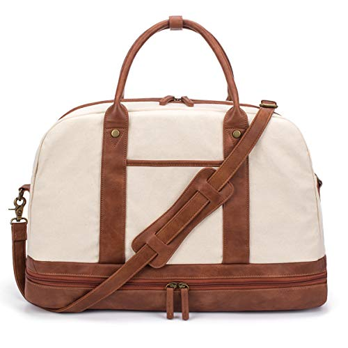 Weekender Bag for Women Canvas Overnight Bag Large Travel Bags for Women Carry on Shoulder Duffle Bag With Shoe Compartment,Perfect for Travel/Daily Use/Birthday Gift (Beige)