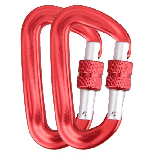 Azarxis 12KN Aluminio Alambre Carabineros de Puerta Clips Hebilla Anillo en D Cierre de Alta Resistencia Ligero 2646 Libra Clasificación (Rojo - 2 Pcs)