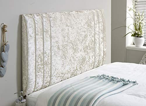 Elixir Furniture Divan Bed Rio - Cabecero de cama de terciopelo aplastado elegante y brillante para decoración de dormitorio, crema, Small Single 2 FEET 6 INCHES, Height 36 INCHES