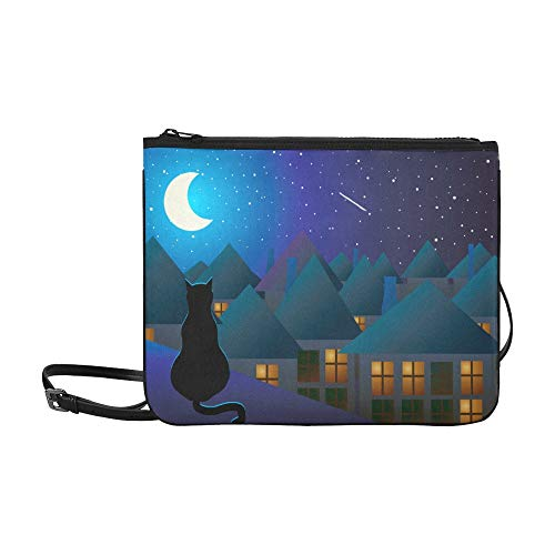 Sports Shoulder Bag Cat On The Roof At Night Moon Adjustable Shoulder Strap Purses And Handbags For Women Best Shoulder Bag Crossbody Shoulder Bag Print Crossbody Bag