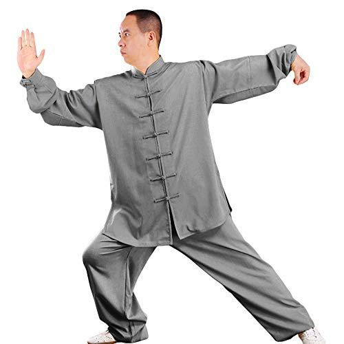 G-like Tai Chi Uniform Anzug - Traditionelle Kampfkunst Taiji Kung Fu Qigong Wushu Wing Chun Shaolin Training Klassische Kleidung Lange Ärmel für Männer Frauen - Baumwolle Leinen (Dunkelgrau, XXL)