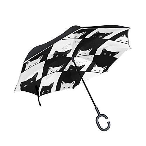 rodde Doble Capa a Prueba de Viento Invertida con Mango en Forma de C Tendedero para Gato Negro Blanco para Lluvia Sombrillas inversas al Aire Libre
