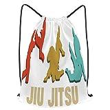 fudin Impermeable Bolsa de Cuerdas Saco de Gimnasio Vintage Retro Jiu Jitsu Deporte Mochila para Playa Viaje Natación