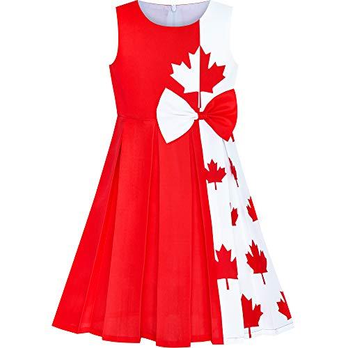Flickor Klänning kanada Flagga nationaldag Fest Klänning 8 år