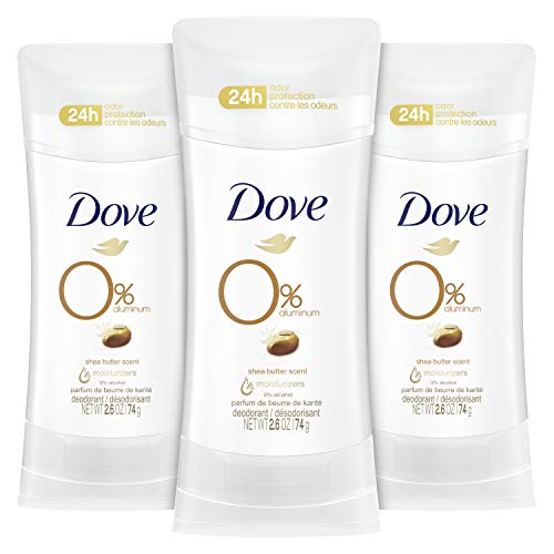 Dove Aluminum Free Deodorant 24hour Odor Protection Shea Butter Deodorant for Women 3 Count, 2.6 Ounce