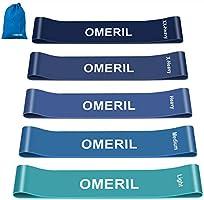 OMERIL Elastici Fitness (Set di 5), Bande di Resistenza Fitness con 5 Livelli di Resistenza, Fasce Elastiche Fitness per...