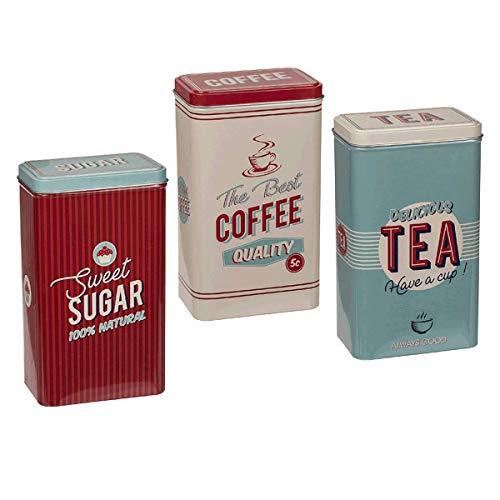 FiNeWaY Vintage Set of 3 Stainless Steel Tea Coffee Sugar Jar Canisters Kitchen Container Tins Storage Set Retro Design