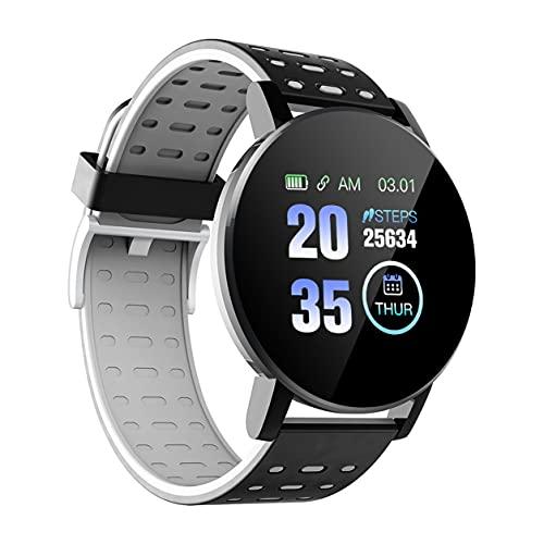 StrongAn Reloj Inteligente 119Plus Fitness Tracker Pulsera Inteligente Monitoreo del Ritmo cardíaco Reloj Inteligente para Mujeres y Hombres - Negro 1.3 Pulgadas