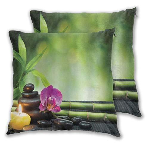 WINCAN Juego de 2 Decorativo Funda de Cojín SPA Orchid Bamboo Stems Chakra Stones Alternativa Japonesa con Elementos de Feng Shui Funda de Almohada Cuadrado para Sofá Cama Decoración para Hogar
