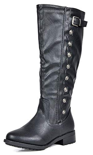 DREAM PAIRS Women's Army Black Pu Leather Knee High Winter Riding...