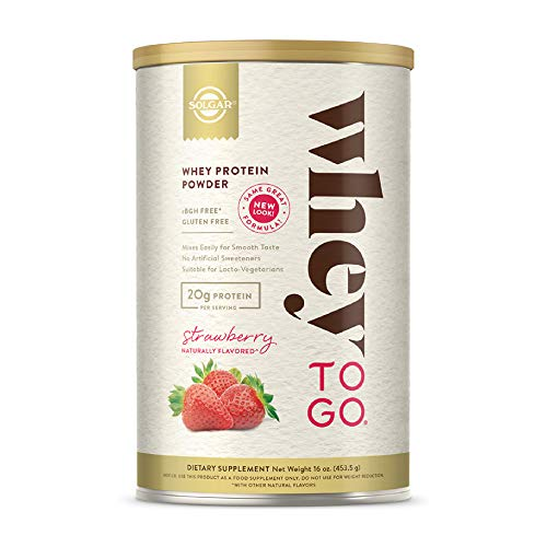 Solgar Whey To Go Protein Powder Natural Strawberry Flavor, 16 oz - Whey Protein Isolate and Concentrate - Mixes Easily for Smooth Taste - Gluten Free - 20g Protein per Serving