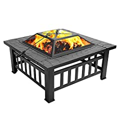 MULTIPURPOSE - This outdoor fire pit is ideal for cool evenings, providing cozy warmth, lithe light which makes a beautiful, captivating, comfortable atmosphere. Sturdy design with special pattern ideal for warmth, BBQ and cooling drinks and food in ...