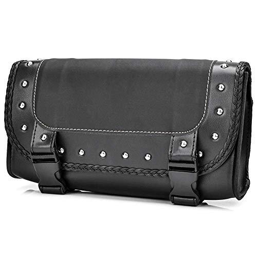 JUNNuotop Motorcycle Bag Black PU Leather Motorbike Front Rear Fork Tool Bag Handlebar Bags Luggage Saddlebag