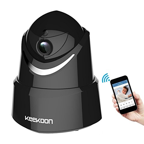 Keekoon 1080P Wireless/Wired IP Camera,Baby Monitor with Two-Way Talk & Pan/Tilt & Night Vision (Black-005)