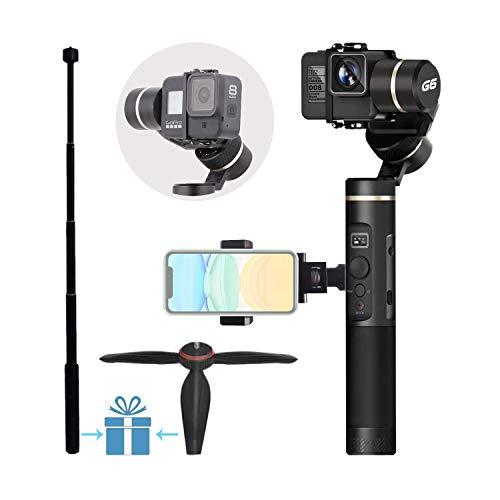 Feiyu G6 Upgraded Gimbal for Gopro Hero 7/6/5/4/3,SJcam, Yi 4K or Similar Size for Action Camera,Including Tripod,Phone Holder and Extension Rod