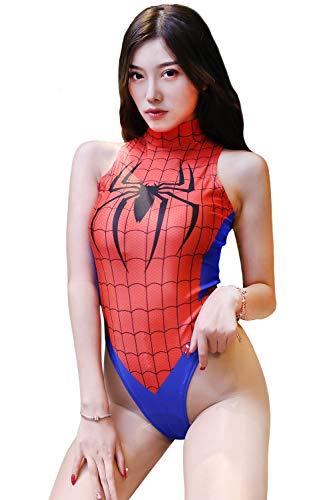 Olanstar Damen Einteiler Hoher Schnitt Superhelden Cosplay Kostüm Turnanzug Bodysuit Teddy Dessous Set (Spiderman)