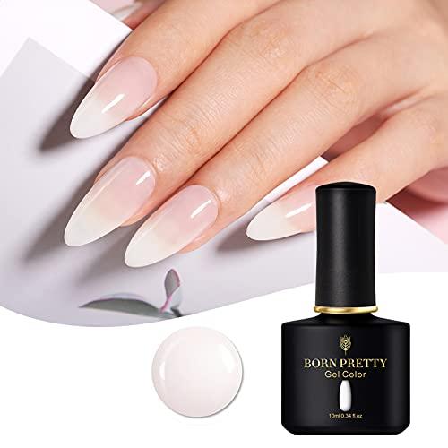 Born Pretty Esmalte de uñas de gel blanco lechoso, UV, 10 ml, gelatina transparente, esmalte de uñas, estilo clásico y combinable, para UV o LED