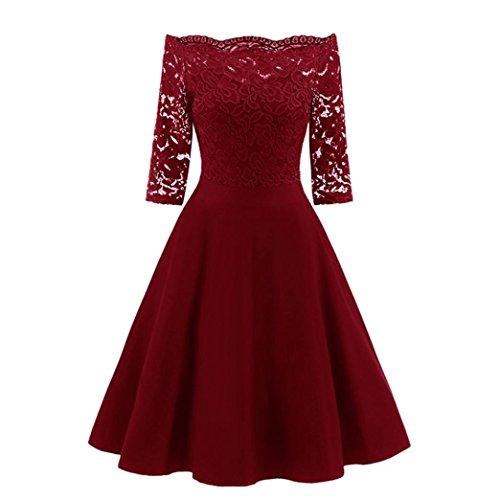 Luckycat Räumungsverkauf Damen Spitzenkleid für eine Neue Vintage Spitze Patchwork Schulterfrei Cocktail Party Retro Schaukel Kleid Swing Kleid Partykleid Cocktailkleid (Rot, EU 40-XL)
