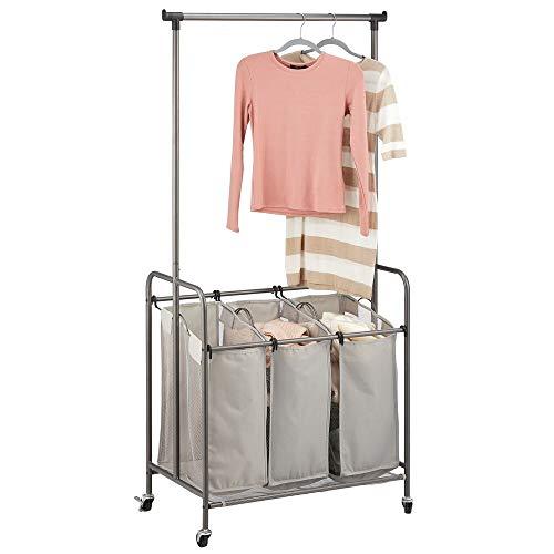 MDESIGN Wäschesammler – Wäschekorb mit 3 Fächern und Kleiderstange aus Polyester und Metall – mobiler Kleiderständer für Bad, Schlafzimmer und Waschküche – grau/Graphitgrau