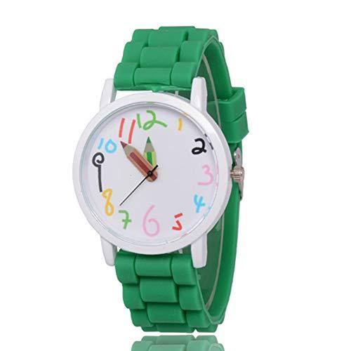 MENGZHEN - 1 Reloj de Pulsera Digital para niña y niño con manecillas Impermeables de Silicona, diseño de Dibujos Animados, 0.07, Color Verde