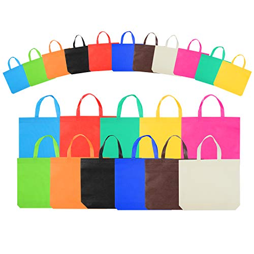 22 Piece Reusable Party Tote Bags,Non-Woven Rainbow Bags,For Birthday Favors, Snacks,Toys,15 Inch 11 Colors