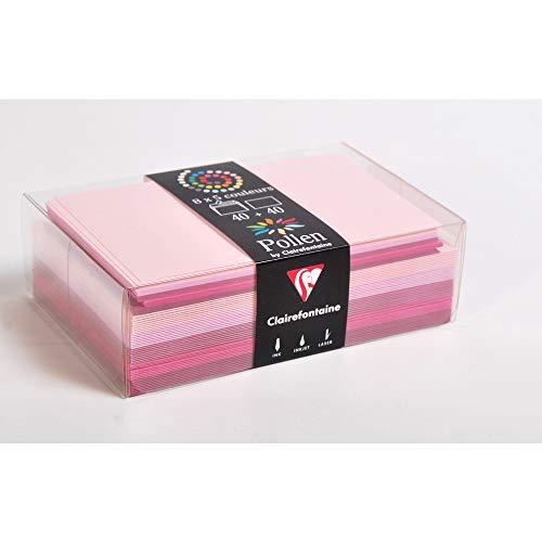 Clairefontaine 20871C - Correspondance Pollen - Coffret 40 Enveloppes 9x14cm + 40 Cartes Simples 8,2x12,8cm - Thème Rose - 5 Coloris Différents