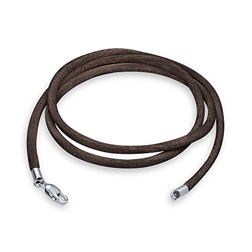 Bling Jewelry Brown Satin Silk Necklace Pendant Cord for Women for Men Teen Silver Plated Lobster Claw Clasp 14 Inch