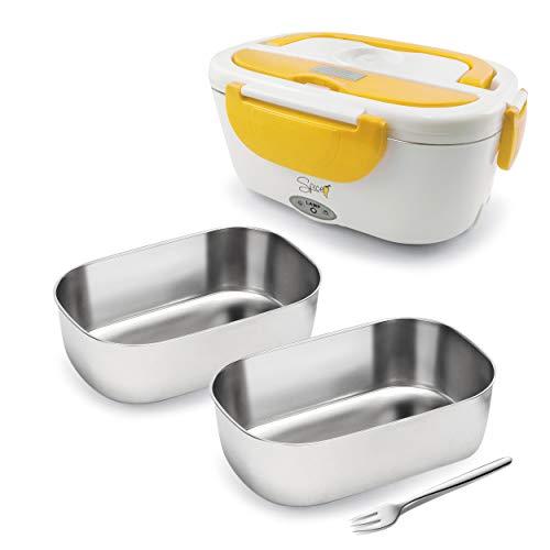 Spice Amarillo Inox - Calentador portátil Lunch Box Amarillo 40W 1,5 litros + Set 2 bandejas de acero inoxidable extraíbles