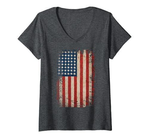 Mujer Bandera Americana de Estados Unidos 4 de julio 4 Rojo Blanco Azul Estrellas Rayas Camiseta Cuello V