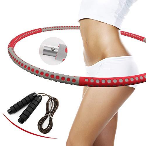 eisaro Hula Hoop Reifen Fitness, Abnehmbarer Hoola Hup Reifen mit Springseil aus Edelstahlmaterial mit Schaumstoff Massage Hulahupreifen für Erwachsene und Jugendliche Rot Grau
