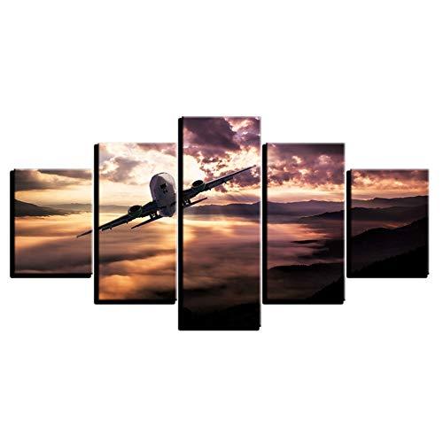 Canvas HD Prints Poster Moderne kamerdecoratie kunstwerk 5 stuks vliegtuig zonsondergang landschap schilderijen modulaire afbeeldingen muurkunst (geen lijst) 10x15 10x20 10x25cm