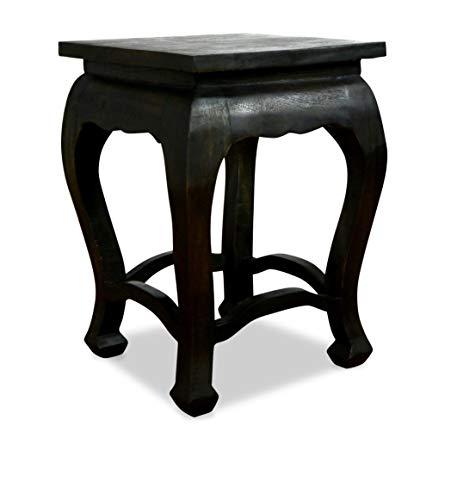 livasia Hoher schwarzer Opiumtisch, Beistelltisch, Nachttisch, Podest, Couchtisch