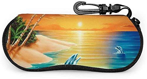 MODORSAN Weiche Sonnenbrillenetui mit Karabinerhaken, Dolphin Island Ultraleichter tragbarer Neopren-Reißverschluss Brillentasche-Schwimmdelfin
