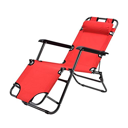 HUAXUE ZHXZHXMY Home Leisure Furniture - | Foldable Deck Chair | Reclining Garden Chair | Beach Chair 178 Cm + Leg Rest Reclining Back + Headrest | Red