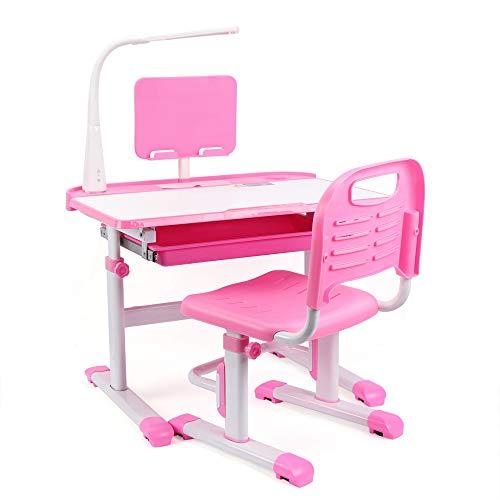 DiLiBee Kinderschreibtisch mit Stuhl und Schublade, Schülerschreibtisch Schreibtisch für Kinder und Schüler höhenverstellbar mit LED Lampe (Rosa)