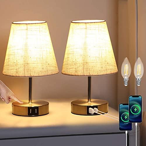 Lightess 2 Pezzi Lampada da Comodino Touch Dimmerabile Lampada da Tavolo LED Paralume in Tessuto Beige Lampadina Bianco Caldo E14 Inclusa Lampada Vintage Interruttore Doppia Porta USB, Cappello