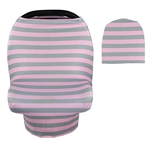 Couverture d'allaitement pour bébé Couverture de poussette polyvalente pour portable (Color : Pink+Grey Stripe, Size : One Size)