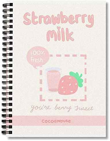 Spiral Notebook Strawberry Milk Composition Notebooks Journal With Premium Thick Comic Book product image