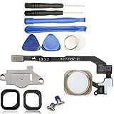 iReplaceParts Kit de reparación de botón de inicio para iPhone 5S y iPhone SE, cierre de goma, soporte de metal y tornillos con kit de herramientas 821-2092-A (dorado)