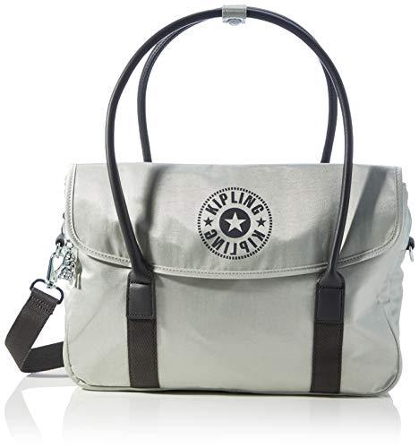 Kipling SUPERWORKER S, Luggage Messenger - Bolso bandolera para Mujer, Dynamic Silver, 13x38x25 cm (LxWxH)
